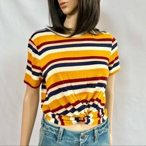 🔥NWT Multicolor Striped Knit Top w/ Twist